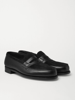 J.M. Weston - Leather and Suede Penny Loafers - Men - Black