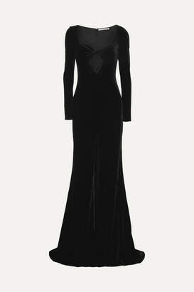 Alessandra Rich Cutout Velvet Gown - Black