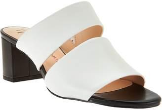 Isaac Mizrahi Live! Leather Double Strap Slide Sandals w/ Block Heel