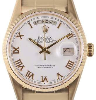 Rolex Day-Date 18238 18K Yellow Gold White Roman Dial 36mm Unisex Watch