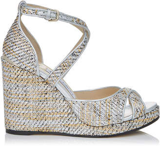 Jimmy Choo ALANAH 105 Silver Mix Woven Metallic Fabric Wedges