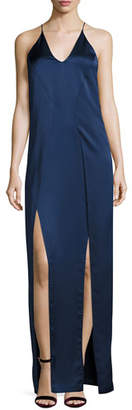 Halston Sleeveless V-Neck Satin Slip Evening Gown