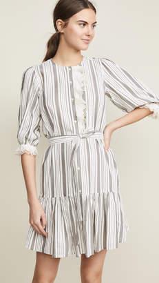 Rebecca Taylor Long Sleeve Eyelet Stripe Dress