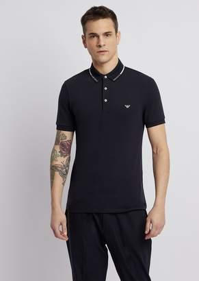 Emporio Armani Stretch Cotton Pique Polo Shirt