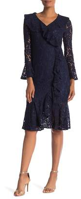 Tina Surplice Lace Ruffle Dress