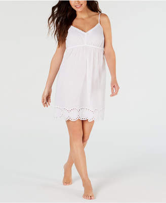 Charter Club Eyelet Lace Woven Cotton Chemise Nightgown