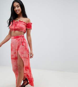 Glamorous Petite Maxi Wrap Skirt In Tie Dye Co-Ord