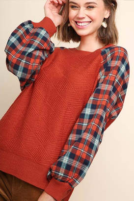 Umgee USA Plaid Puff Sweater