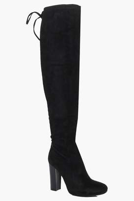 boohoo Stretch Over Knee Boot With Lace Details
