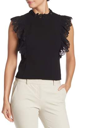 Rebecca Taylor Lace Trim Cap Sleeve Blouse