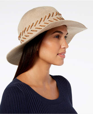 INC International Concepts I.N.C. Packable Whipstitched Solid Panama Hat, Created for Macy's