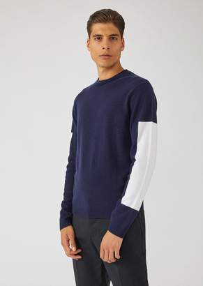 Emporio Armani Plain-Knit Virgin Wool And Cashmere Sweater With Contrasting Details