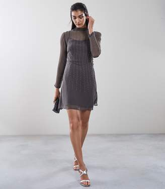 Reiss CAMILE EMBELLISHED FIT AND FLARE DRESS Charcoal