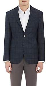 Piattelli MEN'S PLAID WOOL-BLEND TWO-BUTTON SPORTCOAT - OLIVE SIZE 42 L