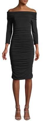 Elie Tahari Naomie Off-the-Shoulder Ruched Sheath Dress