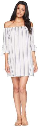 Lucky Brand Stripe Out Off the Shoulder Dress Cover-Up Women's Swimwear