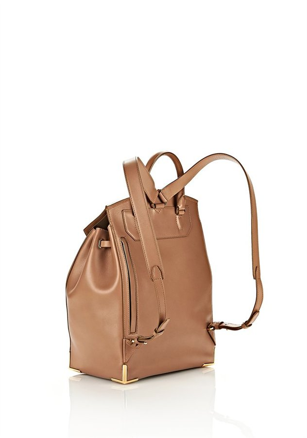 Alexander Wang Prisma Skeletal Backpack In Latte With Yellow Gold