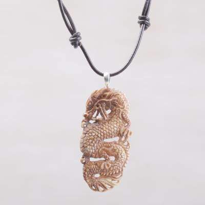 Bone and Leather Dragon Pendant Necklace from Indonesia, 'Snarling Dragon'