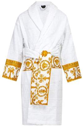 Versace I Love Baroque Logo Jacquard Cotton Bathrobe - Mens - White