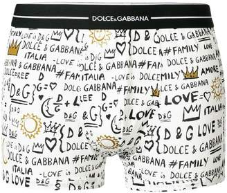 Dolce & Gabbana love family logo printed boxers