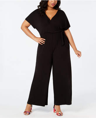 Soprano Plus Size Surplice Jumpsuit