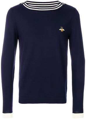 Gucci bee embroidered boat neck sweater