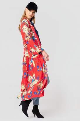 boohoo Floral Maxi Kimono Red