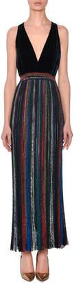 Missoni Deep-V Sleeveless Velvet-Top Striped Metallic Evening Gown