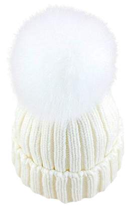 ef4810599aa at Amazon Canada · GuoMan Womens Girls Knitted Fur Hat Real Large Silver  Fox Fur Pom Pom Beanie Hats