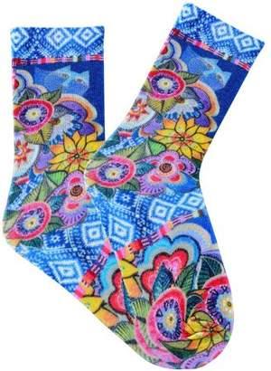 K. Bell Laurel Burch Socks, Cat with Flowers, Purple