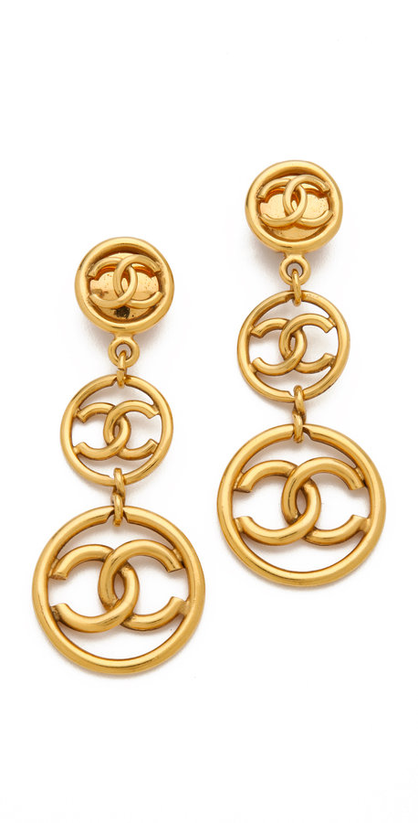 WGACA Vintage Chanel Double Drop Earrings