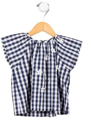 Il Gufo Girls' Gingham Short Sleeve Top w/ Tags