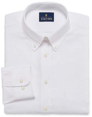 STAFFORD Stafford Travel Oxford Mens Button Down Collar Long Sleeve Wrinkle Free Stretch Dress Shirt