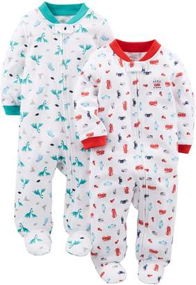 Carter's Simple Joys by Boys' 2-Pack Cotton Footed Sleep and Play