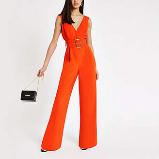 River Island Red belted wide leg jumpsuit