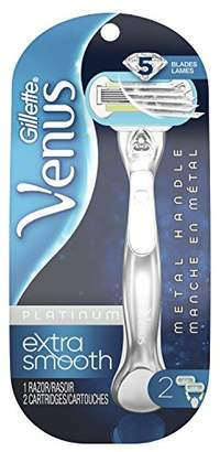Gillette Venus Platinum Extra Smooth Metal Handle Women's Razor & 2 Refills