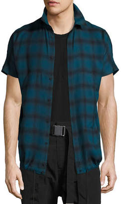 Helmut Lang Check Short-Sleeve Drawstring-Hem Shirt