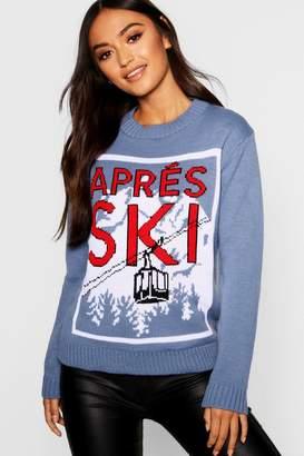 boohoo Petite Après Ski Slogan Christmas Jumper