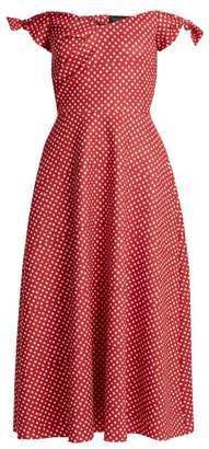 Saloni Ruth polka-dot print off-the-shoulder dress