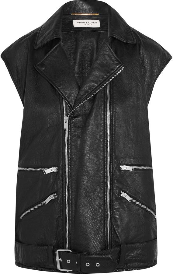 Saint LaurentSaint Laurent Textured-leather biker gilet