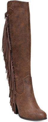 Carlos by Carlos Santana Roslyn Fringe Block-Heel Tall Boots Women's Shoes $99 thestylecure.com