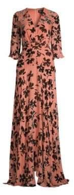 Saloni Edith Burnout Velvet Maxi Dress