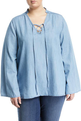 Melissa McCarthy Lace-Up Chambray Blouse, Plus Size