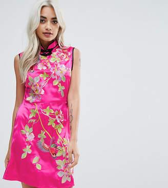 Asos Embroidered Satin Mini Dress