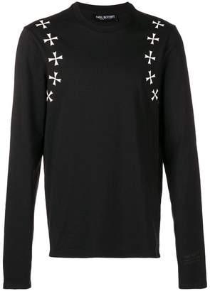 Neil Barrett cross motif long-sleeved T-shirt
