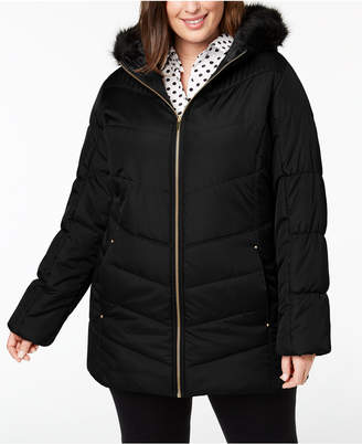 Celebrity Pink Juniors' Plus Size Faux-Fur-Trim Puffer Coat
