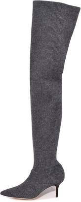 Monse Thigh High Knitted Boot in Charcoal