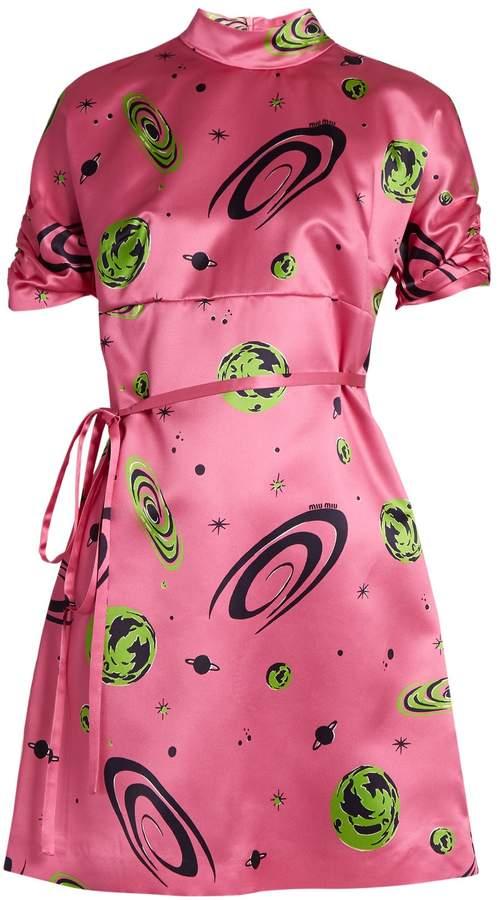Miu MiuMIU MIU Planet-print duchess-silk dress