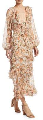 Zimmermann Radiate Frill Sheer Silk Midi Dress