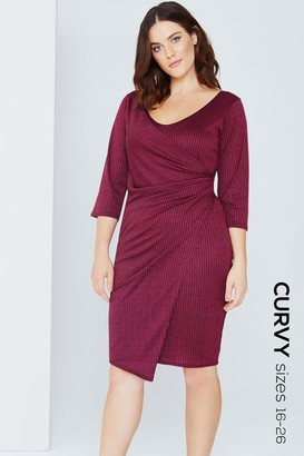 Girls On Film Outlet Plum Wrap Front Bodycon Dress
